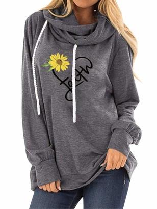 Dresswel Women Faith Hoodie Sunflower Print Hooded Sweatshirt Cowl Neck Long Sleeve Pullover Drawstring Hoody Tops Grey
