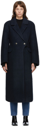 Ganni Navy Wool Double-Breasted Coat