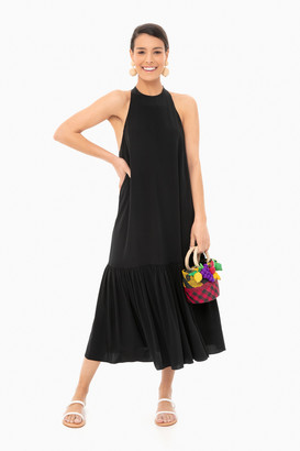 Tibi Black Eco Silk Halter Midi Dress