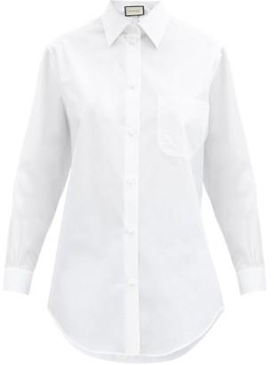 Gucci GG Logo-embroidered Cotton-poplin Shirt - White