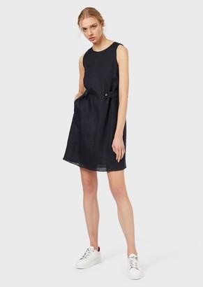 Emporio Armani Linen Sheath Dress With Insignia