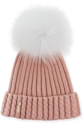 Gorski Knit Hat With Fox Pompom