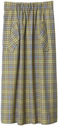 Tibi Recycled Menswear Check Skirt in Green/Beige Multi