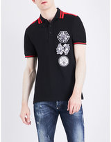 Philipp Plein Badge-detail Cotton-jersey Polo Shirt