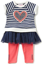Flapdoodles Little Girls 2T-6X Heart Sequined Striped Dress and Solid Leggings Set
