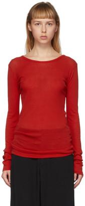 Yohji Yamamoto Red Long Sleeve T-Shirt