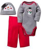 Gerber Baby Boys' 3 Piece Long Sleeve Bodysuit, Pant and Cap Set Heather Grey Snowma...