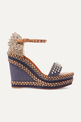 Christian Louboutin Madmonica 110 Spiked Denim And Leather Espadrille Wedge Sandals - Mid denim