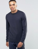 Asos Crew Neck Sweater in Navy Cotton