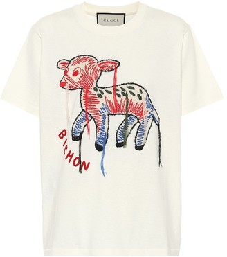 Gucci Embroidered cotton jersey T-shirt