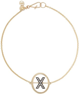 Annoushka 18kt yellow gold diamond initial X bracelet