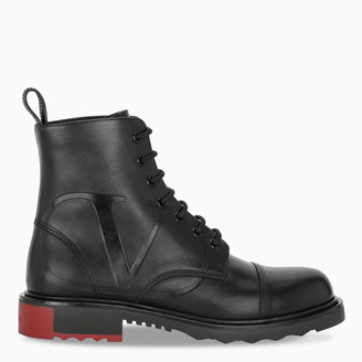 Valentino Black and red VLOGO military boots