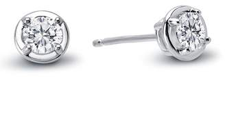 Lafonn Platinum Plated Sterling Silver Bezel Set Simulated Diamond Stud Earrings