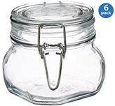 Bormioli Fido Square Clear Jar, 17.5 Ounce - Set of 6