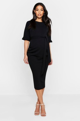 boohoo Maternity Ruffle Midi Bodycon Dress