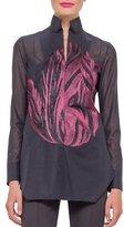 Akris Long-Sleeve Tunic Blouse, Dahlia/Black