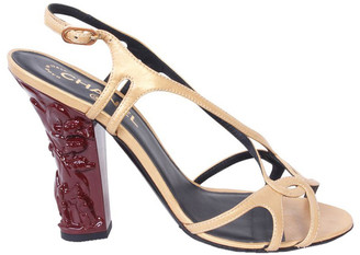Chanel Beige Leather Straps Sandals Size 38.5