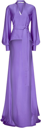 Safiyaa Cedella Hammered Silk Long Top