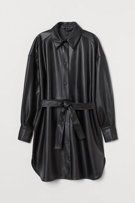 H&M Faux Leather Shirt Dress