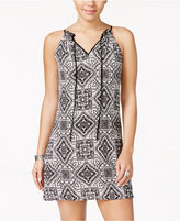 Speechless Juniors' Printed Front-Tie Shift Dress