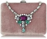 Rodo Antique Pink Velvet Collier Clutch w/Crystals