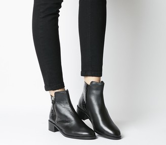 Office Aspen Side Zip Stepped Ankle Boots Black Leather Mix