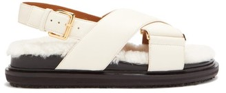 Marni Shearling-footbed Leather Sandals - White