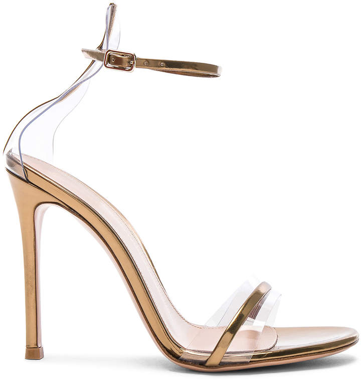 Gianvito Rossi Leather Plexi G-String Heels in Metal Mekong & Transparent | FWRD