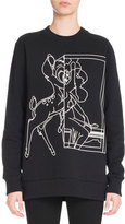 Givenchy Bambi® Long Crewneck Sweatshirt, Black
