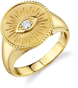 Sydney Evan 14ct Yellow Gold And Diamond Evil Eye Coin Ring