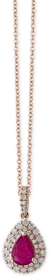 Effy Amore by Certified Ruby (3/4 ct. t.w.) and Diamond (1/3 ct. t.w.) Teardrop Pendant Necklace in 14k Rose Gold, Created for Macy's