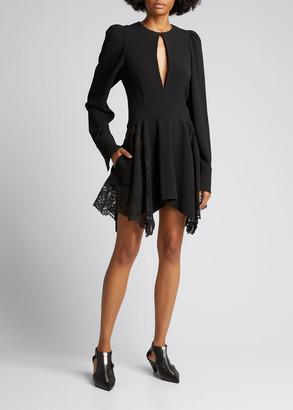 Stella McCartney Crepe Fit-&-Flare Mini Dress w/ Lace Detail