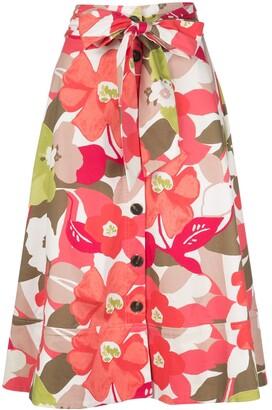 Natori button-through A-line skirt
