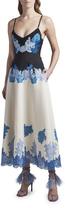 Valentino Embroidered Crepe Dress