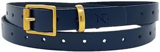 N'damus London Carnaby Navy Blue Leather Ladies Skinny Belt