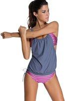 Chouyatou Women's Striped Two-Piece Tankini Swimwear Tummy Control Bathing Suits