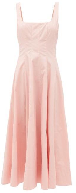 STAUD Wells Dart-tucked Cotton-blend Poplin Midi Dress - Light Pink