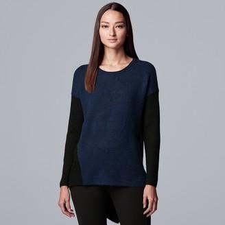 Vera Wang Petite Simply Vera Asymmetrical Hem Colorblock Sweater