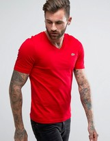 Lacoste Live V-neck T-shirt Croc Logo Slim Fit In Red