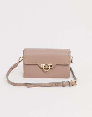 Forever New crossbody bag with hardware detail in blush