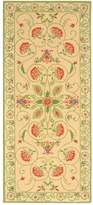 Safavieh Chelsea Collection HK330A Hand-Hooked Beige and Green Wool Runner, 2 feet 6 inches by 8 feet