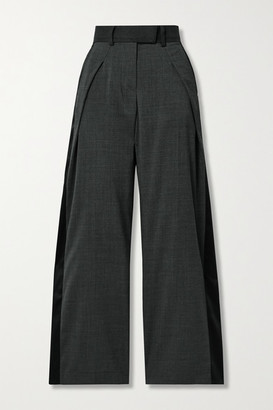 Sacai Grain De Poudre And Satin Wide-leg Pants - Gray