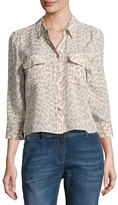 Equipment Leopard-Print 3/4-Sleeve Cropped Slim Signature Silk Shirt, Natural Pink