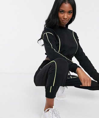 Asos Design DESIGN crop sweat and jogger tracksuit with neon piped detail-Black