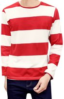 uxcell® Men Pullover Crew Neck Long Sleeves Stripes T-Shirt