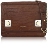 Carven Brown Croco Embossed Leather Shoulder Bag