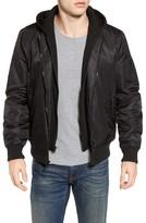 Black Rivet Men's Water Resistant Hooded Satin Flight Jacket