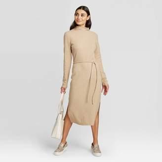 A New Day Women's Long Sleeve Mock Turtleneck Belted Knit Midi Dress