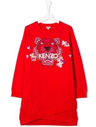 Kenzo Kids TEEN embroidered tiger dress