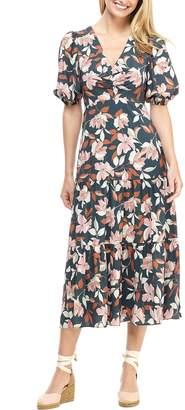 Gal Meets Glam Tegan Floral Print Tiered Midi Dress